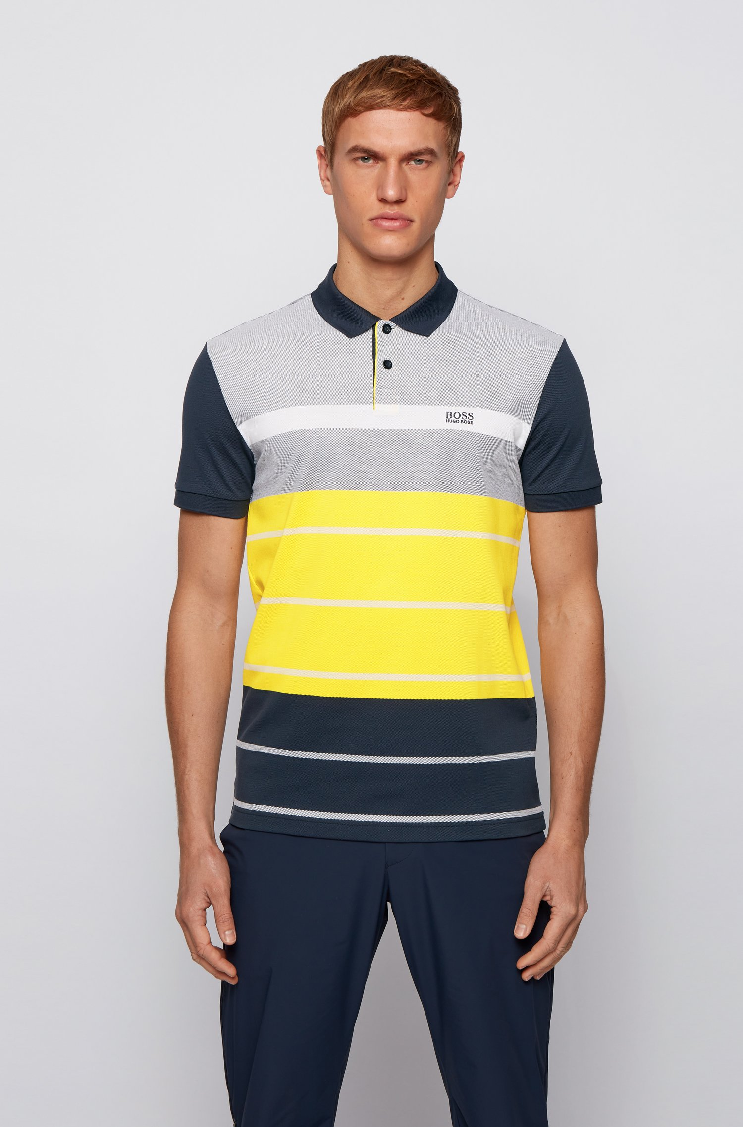 Colour-block polo shirt in striped Oxford cotton piqué, Blue Patterned