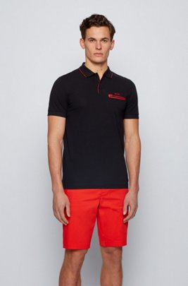 Contrast-detail polo shirt in Air Cool stretch cotton, Black