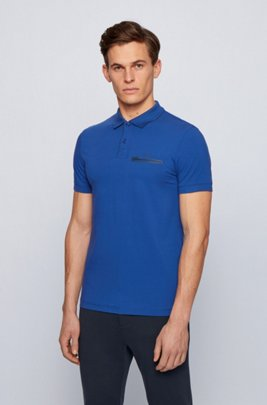 Contrast-detail polo shirt in Air Cool stretch cotton, Blue