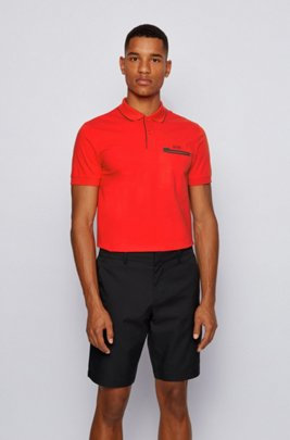 Contrast-detail polo shirt in Air Cool stretch cotton, Red