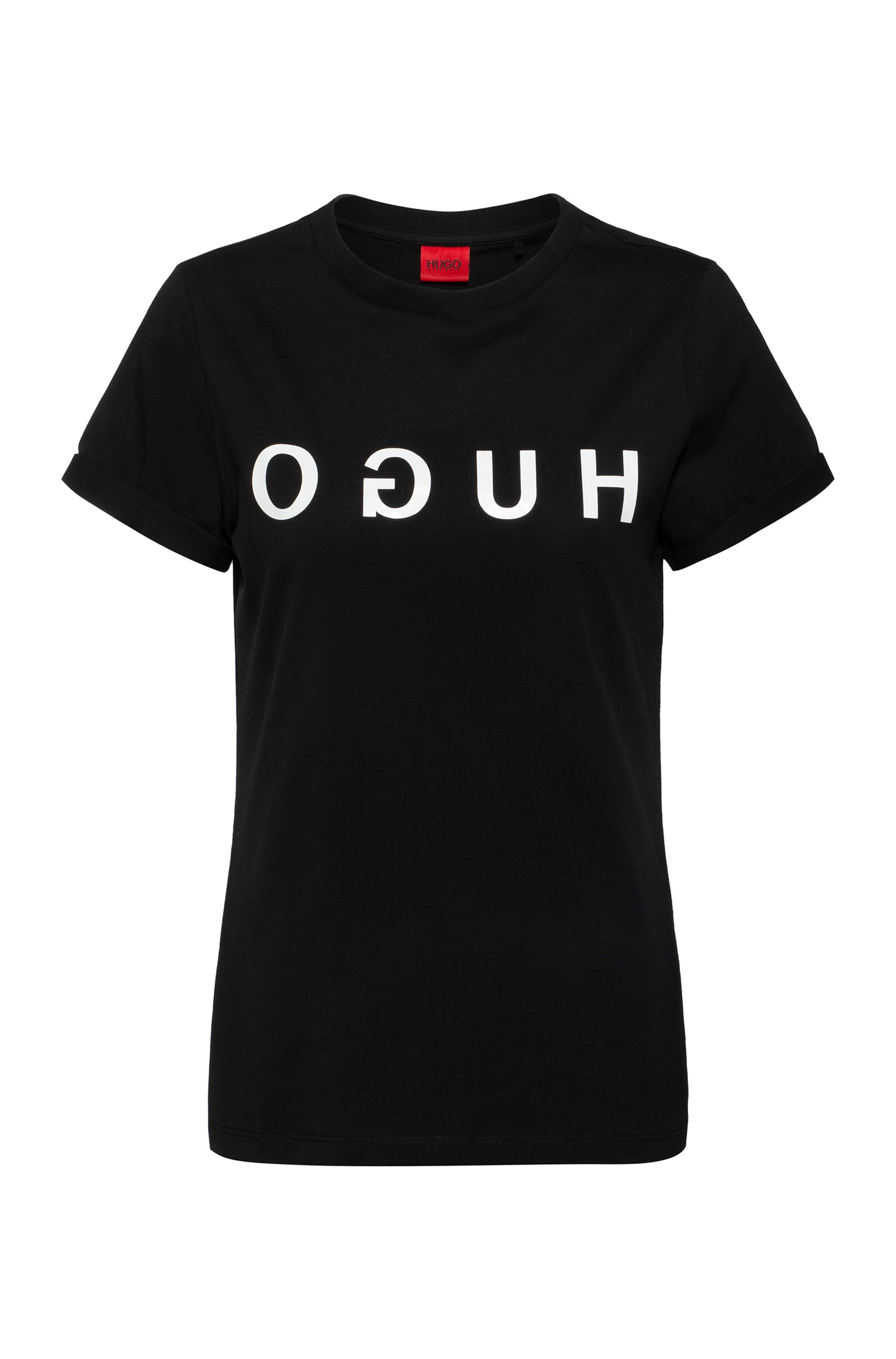 Cotton-jersey crew-neck T-shirt with reversed-logo print, Black