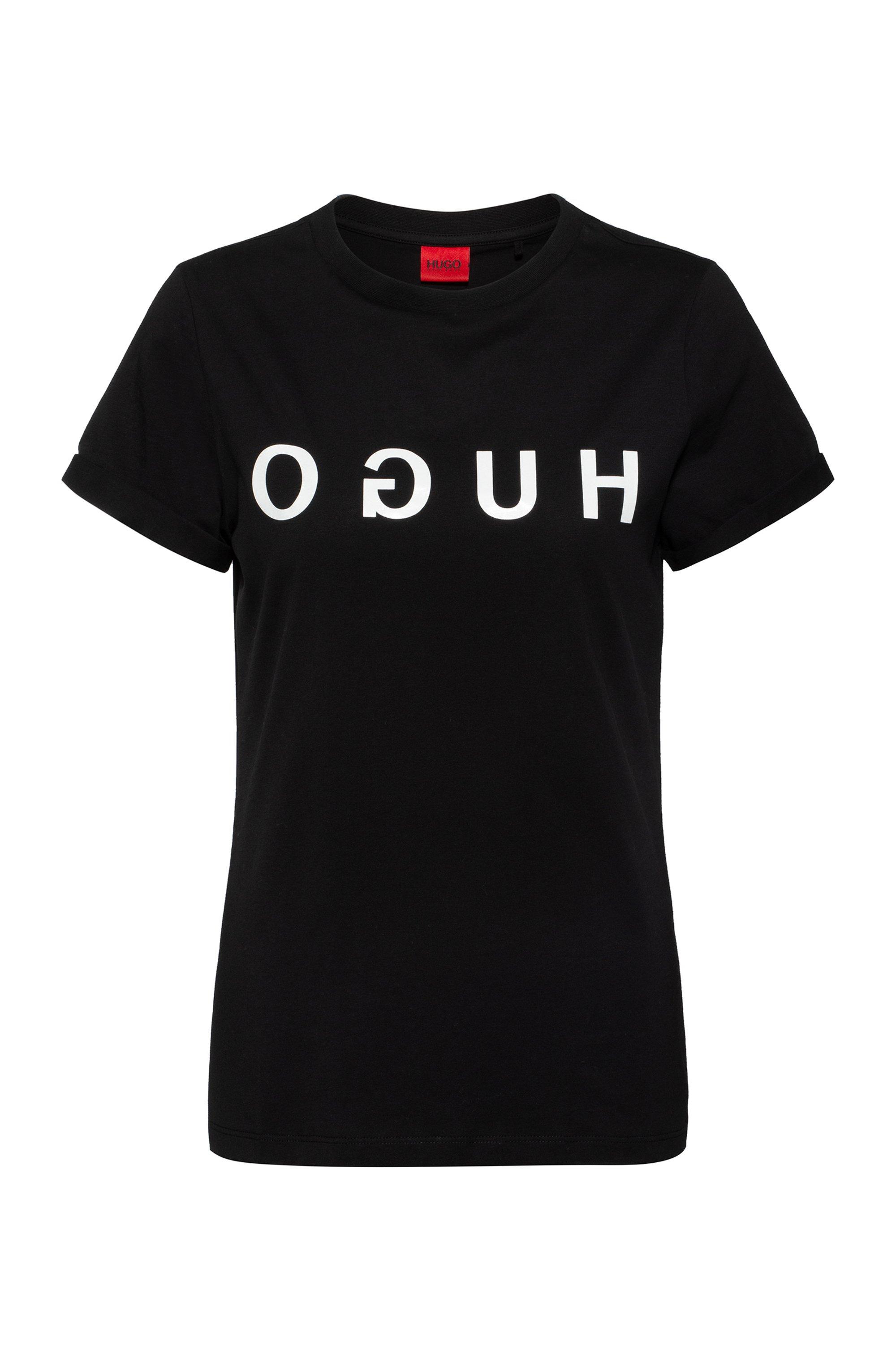 T-shirt a girocollo in jersey di cotone con stampa del logo reversed, Nero
