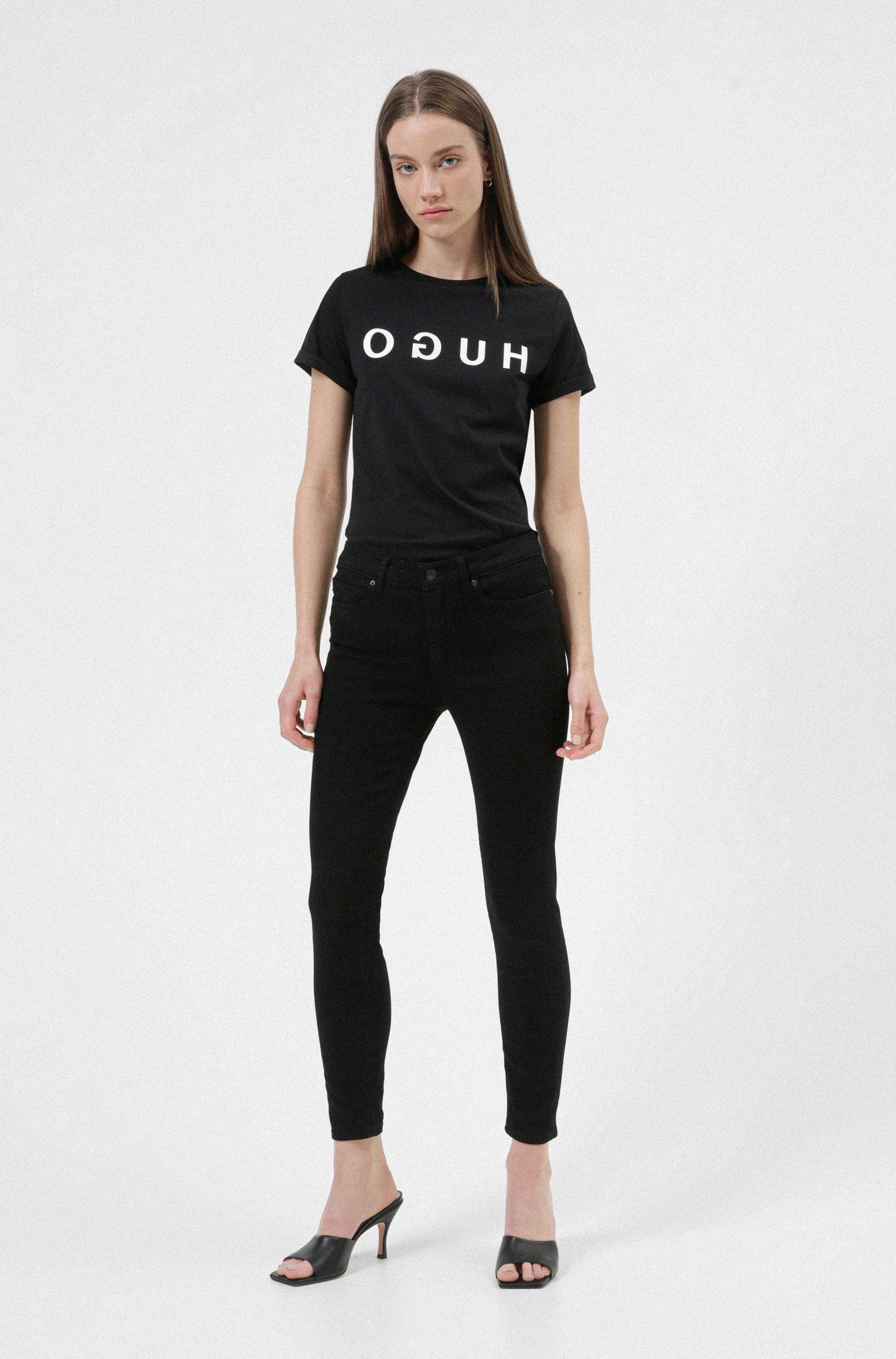 T-shirt a girocollo in jersey di cotone con stampa del logo reversed