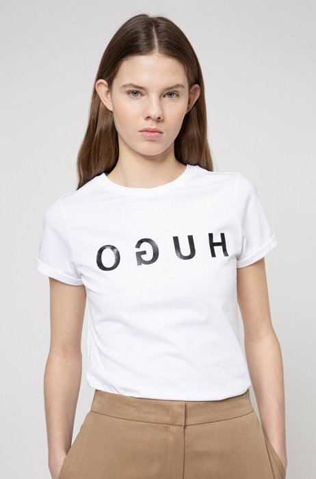 Cotton-jersey crew-neck T-shirt with reversed-logo print, White