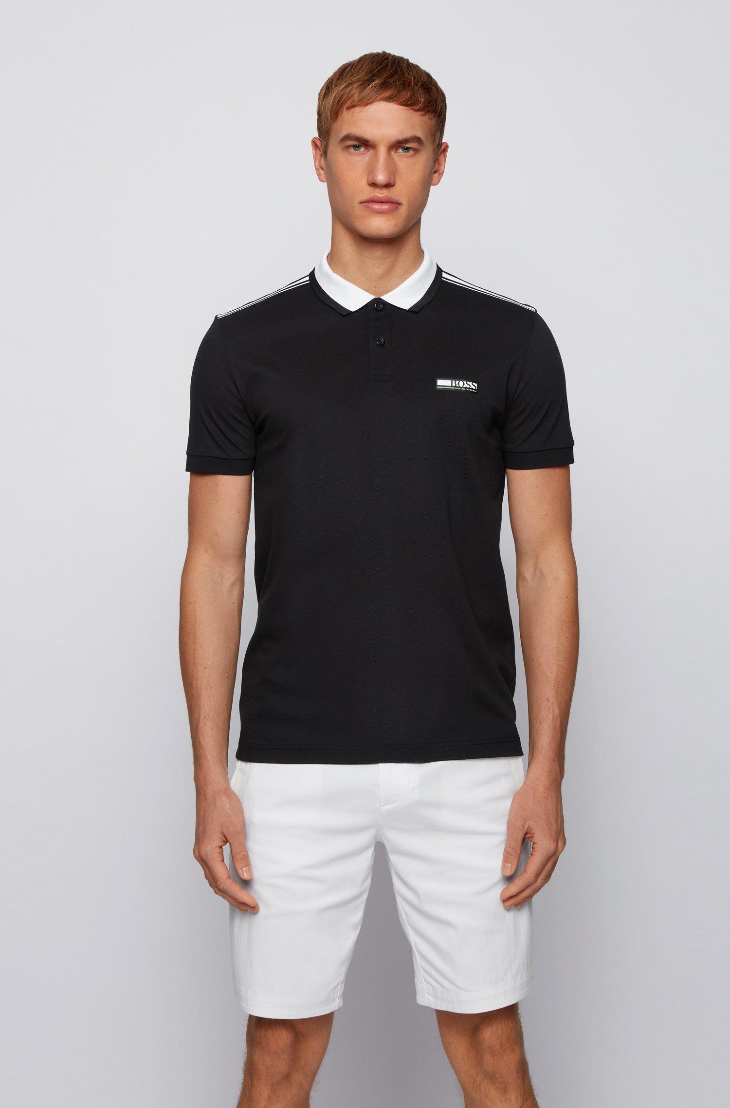 Contrast-collar polo shirt in REFIBRA™ piqué, Black