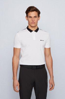 Contrast-collar polo shirt in REFIBRA™ piqué, White