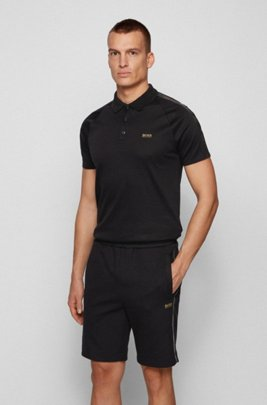 Gold-tone-logo polo shirt in a slim fit, Black