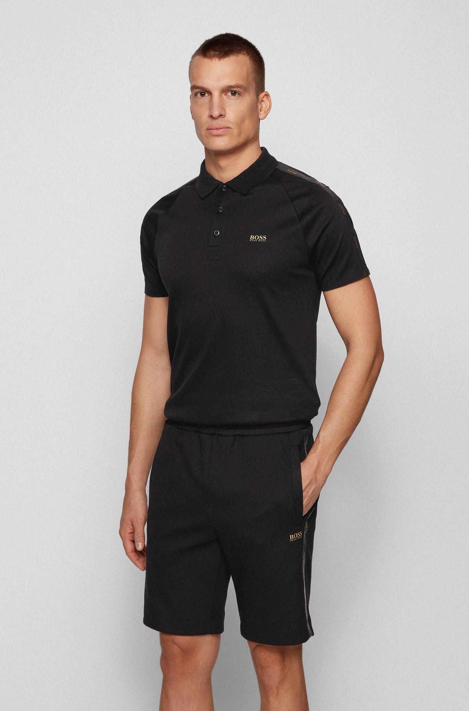Slim-fit polo met goudkleurig logo, Zwart