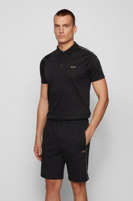 Gold-tone-logo polo shirt in a slim fit, Black