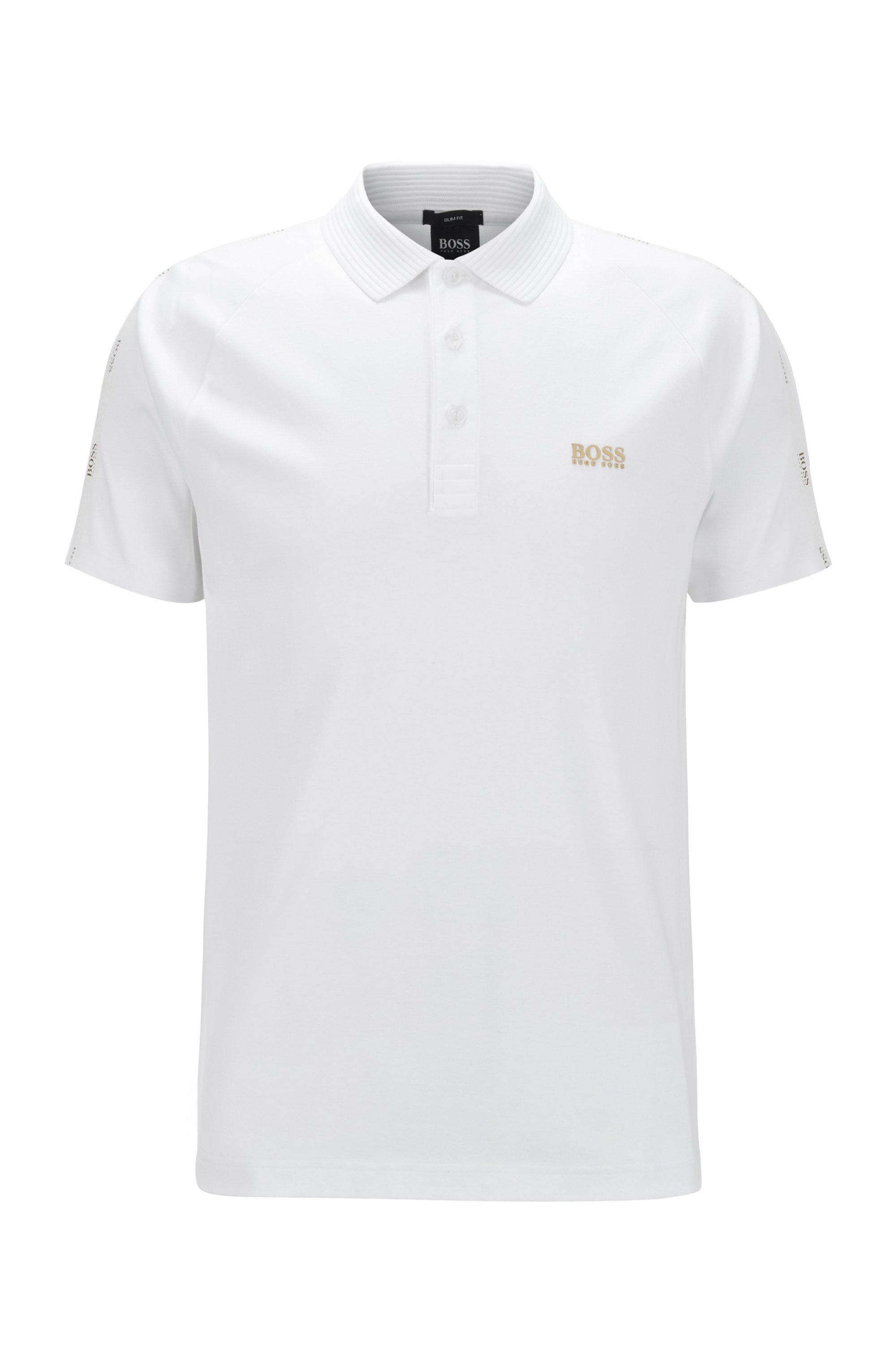 Slim-fit polo met goudkleurig logo, Wit