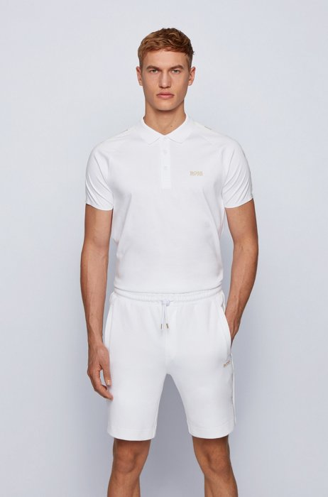 Gold-tone-logo polo shirt in a slim fit, White