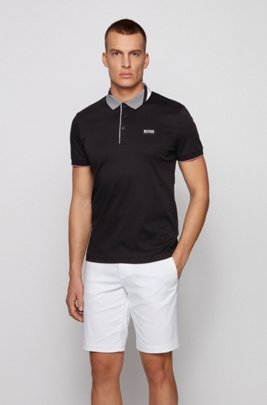 Slim-fit polo shirt in cotton with patterned collar, Black