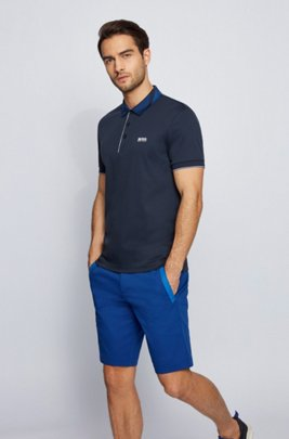 Slim-fit polo shirt in cotton with patterned collar, Dark Blue