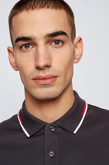 条纹衣领常规版型 Polo 衫,  001_Black