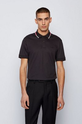 Regular-fit polo shirt with striped collar, Black