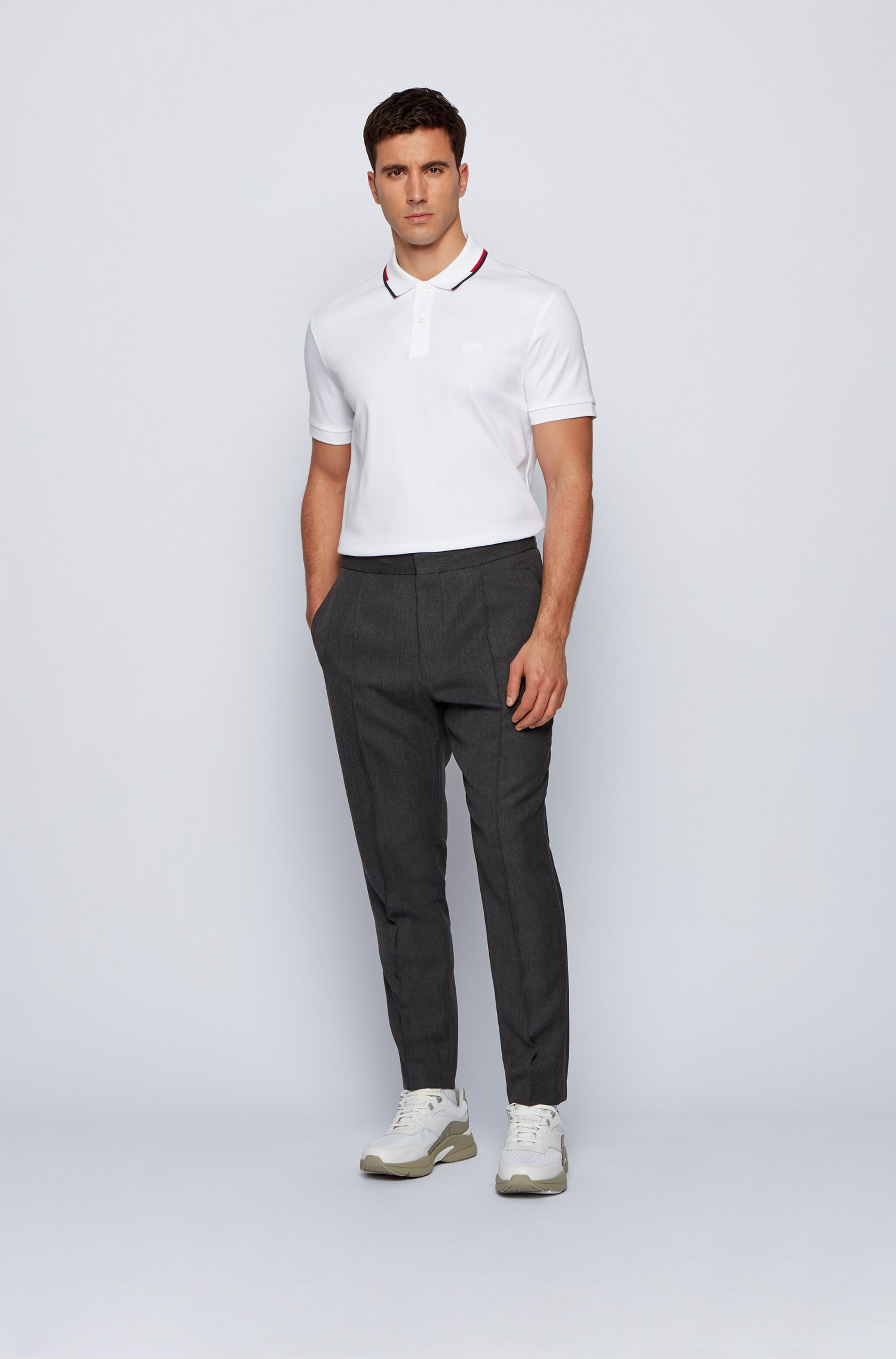 Regular-fit polo shirt with striped collar