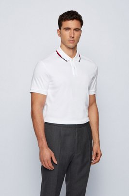 Regular-fit polo shirt with striped collar, White