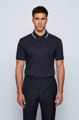 Regular-fit polo shirt with striped collar, Dark Blue