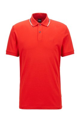 Regular-fit polo shirt with striped collar, Red