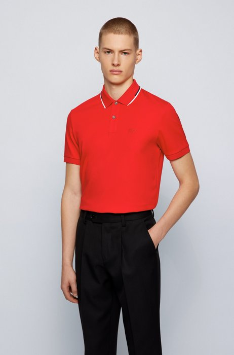 Polo Regular Fit à col à rayures, Rouge
