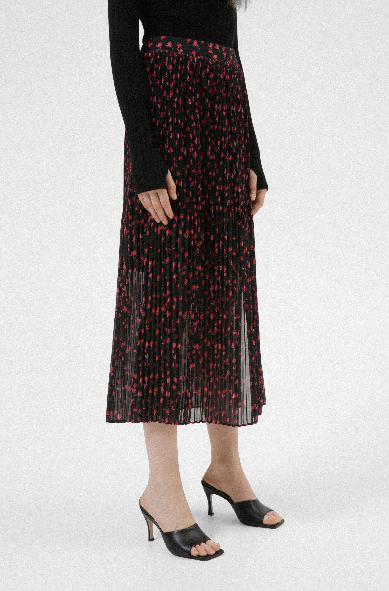 Midi skirt in plissé chiffon with cherry-blossom print, Patterned