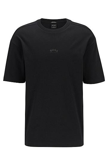 背部反光徽标常规版型棉质 T 恤,  001_黑色