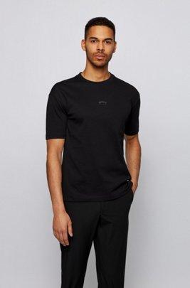 T-shirt relaxed fit in cotone con logo riflettente sulla parte posteriore, Nero