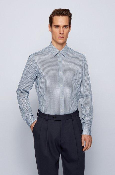Regular-fit shirt in patterned flex-weave fabric, Light Blue