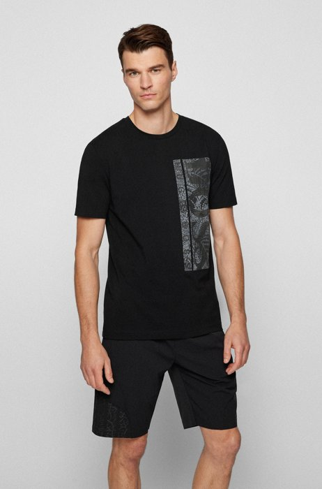 Stretch-cotton T-shirt with botanical logo artwork, Black