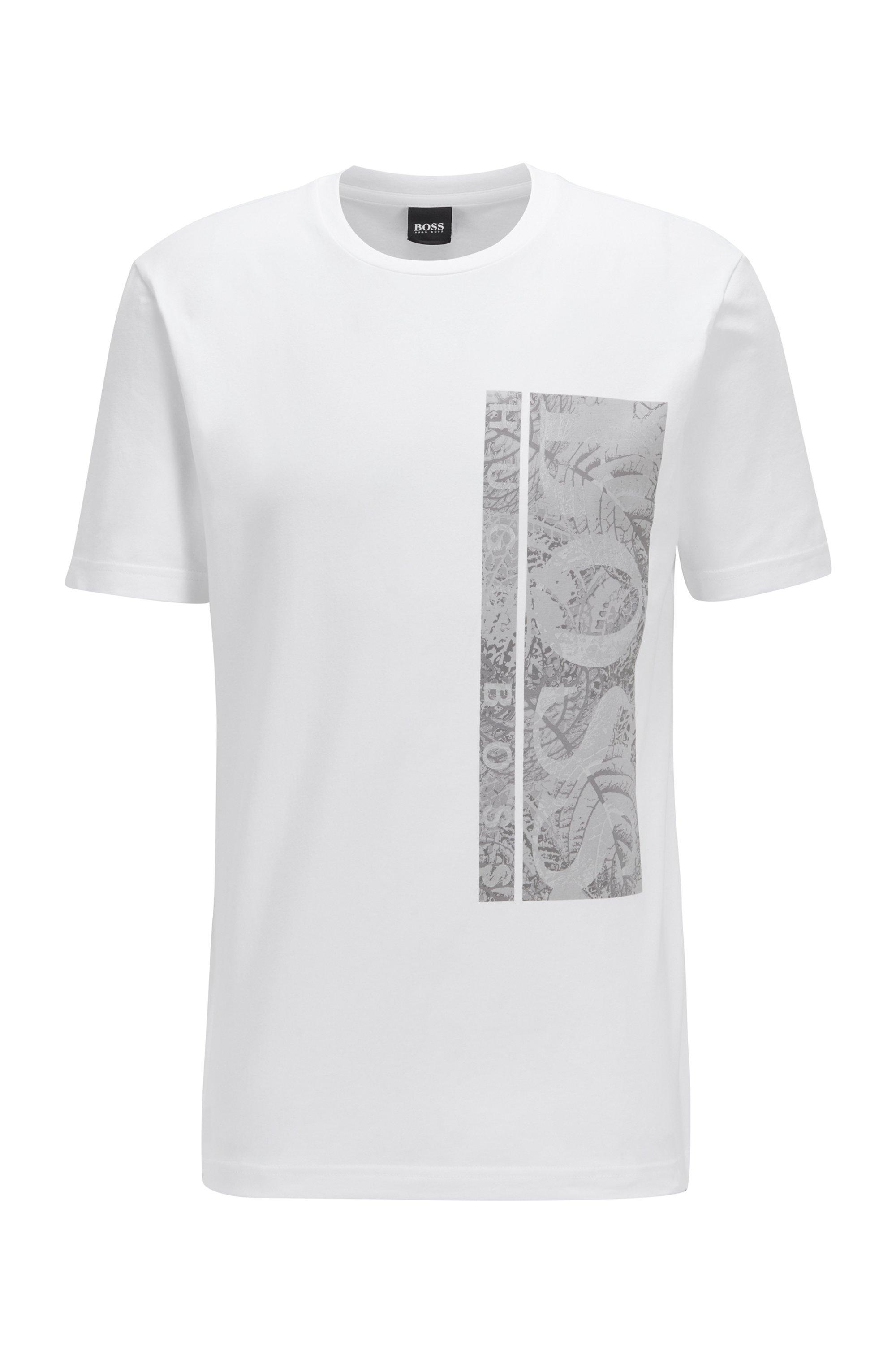 Stretch-cotton T-shirt with botanical logo artwork, White