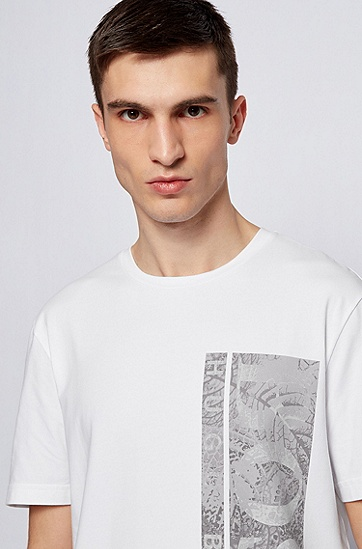 弹力平纹针织T恤,  100_White