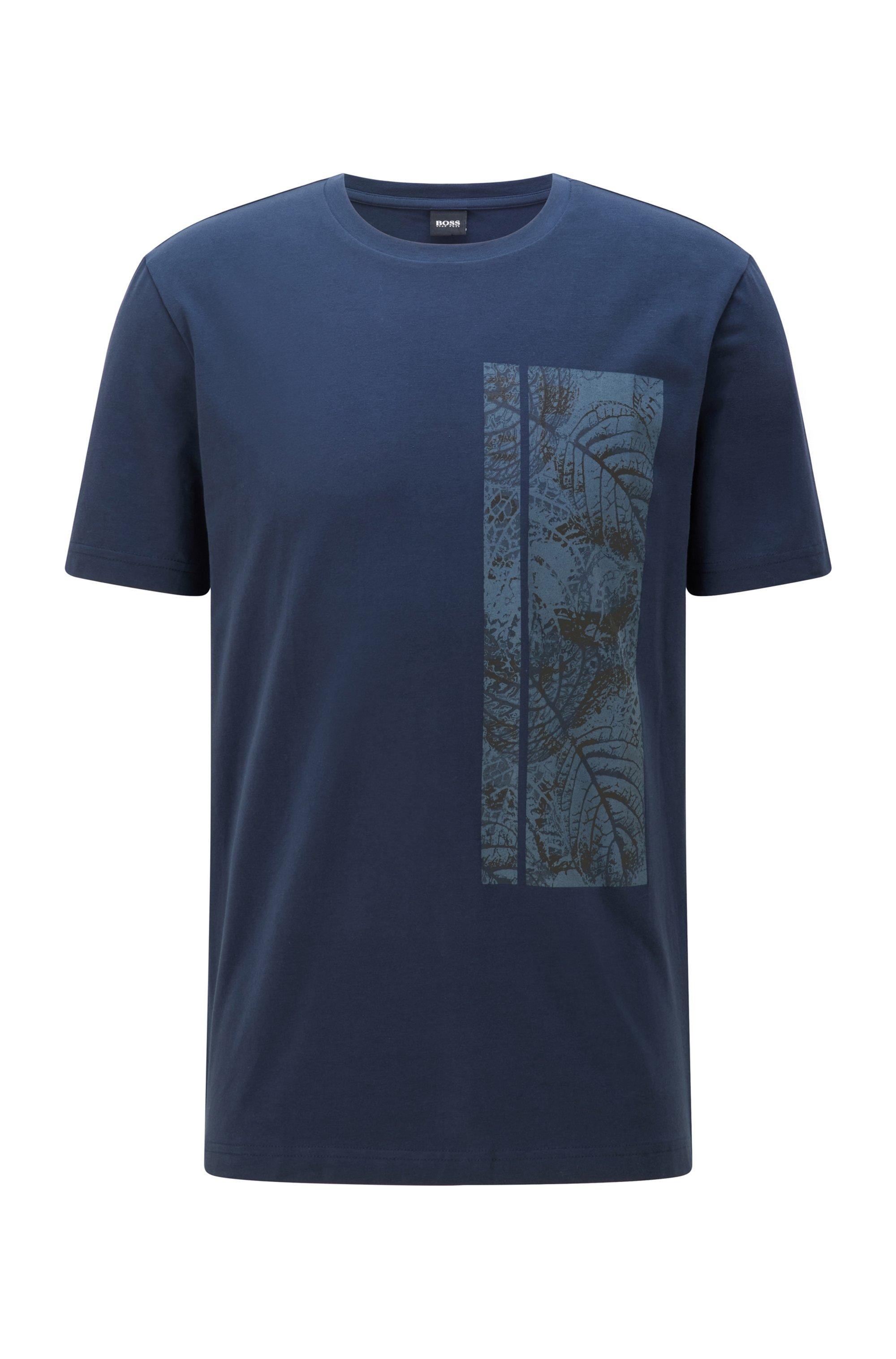 T-shirt in cotone elasticizzato con logo di ispirazione botanica, Blu scuro