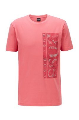 Stretch-cotton T-shirt with botanical logo artwork, Light Red