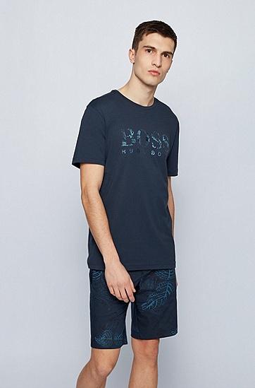 植物印花徽标图案常规版型棉质平纹针织 T 恤,  海军蓝色
