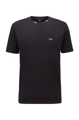 T-shirt Regular Fit orné de logos dorés, Noir