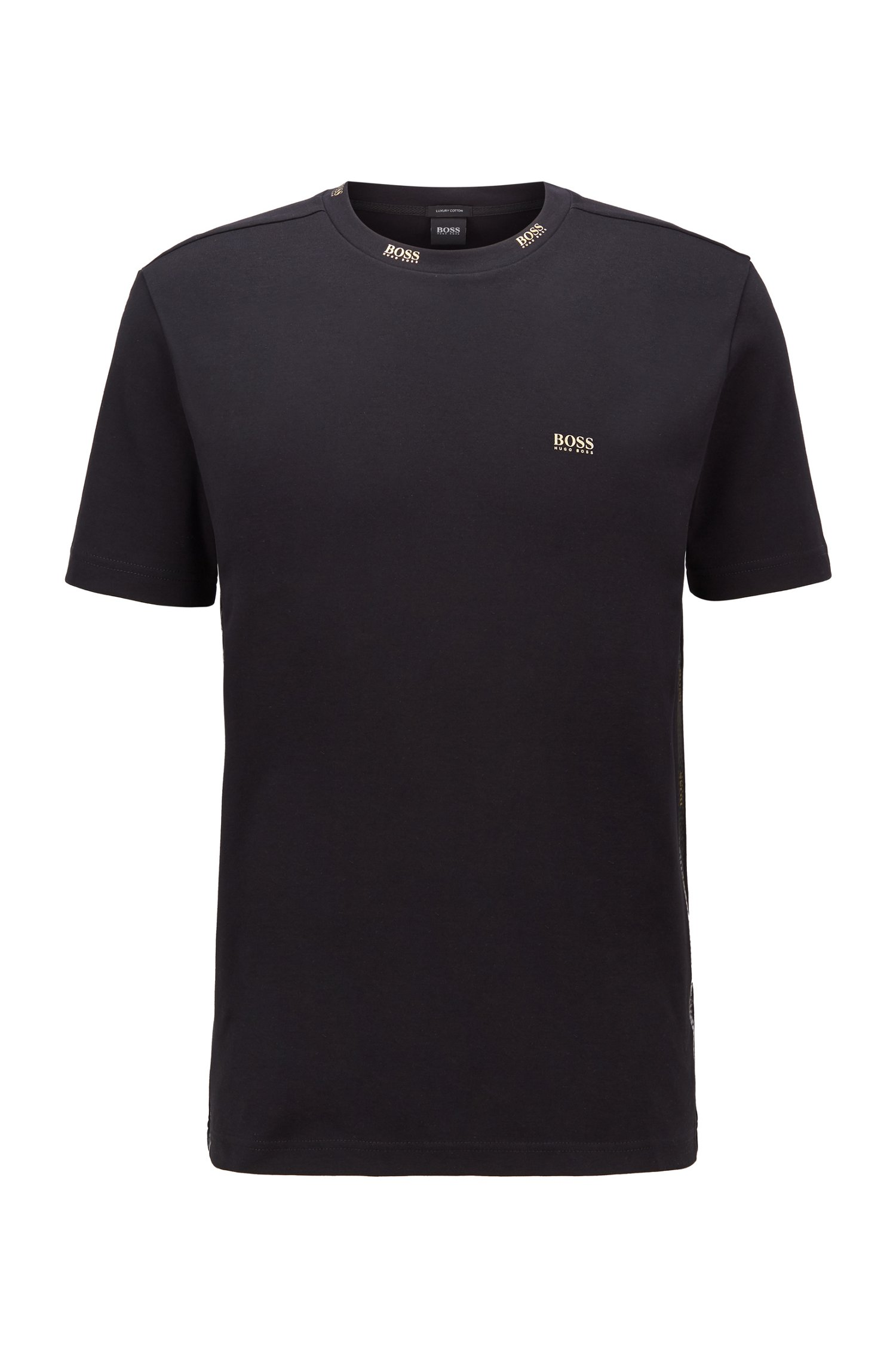 Regular-fit T-shirt with gold-tone logos, Black