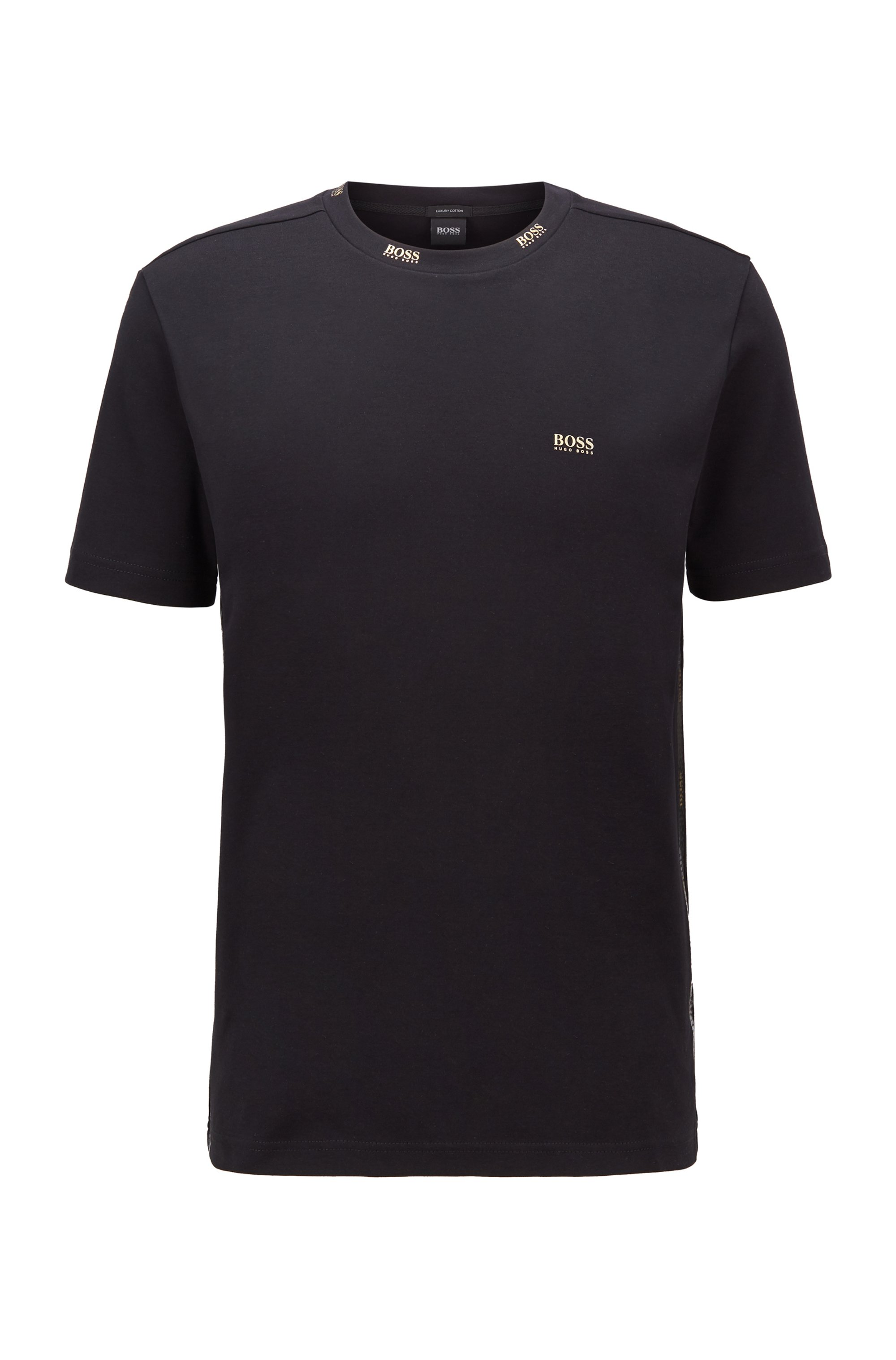 Regular-fit T-shirt with gold-tone logos, Black