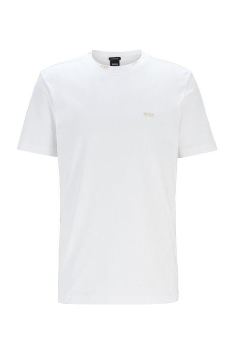 Regular-fit T-shirt met goudkleurige logo's, Wit