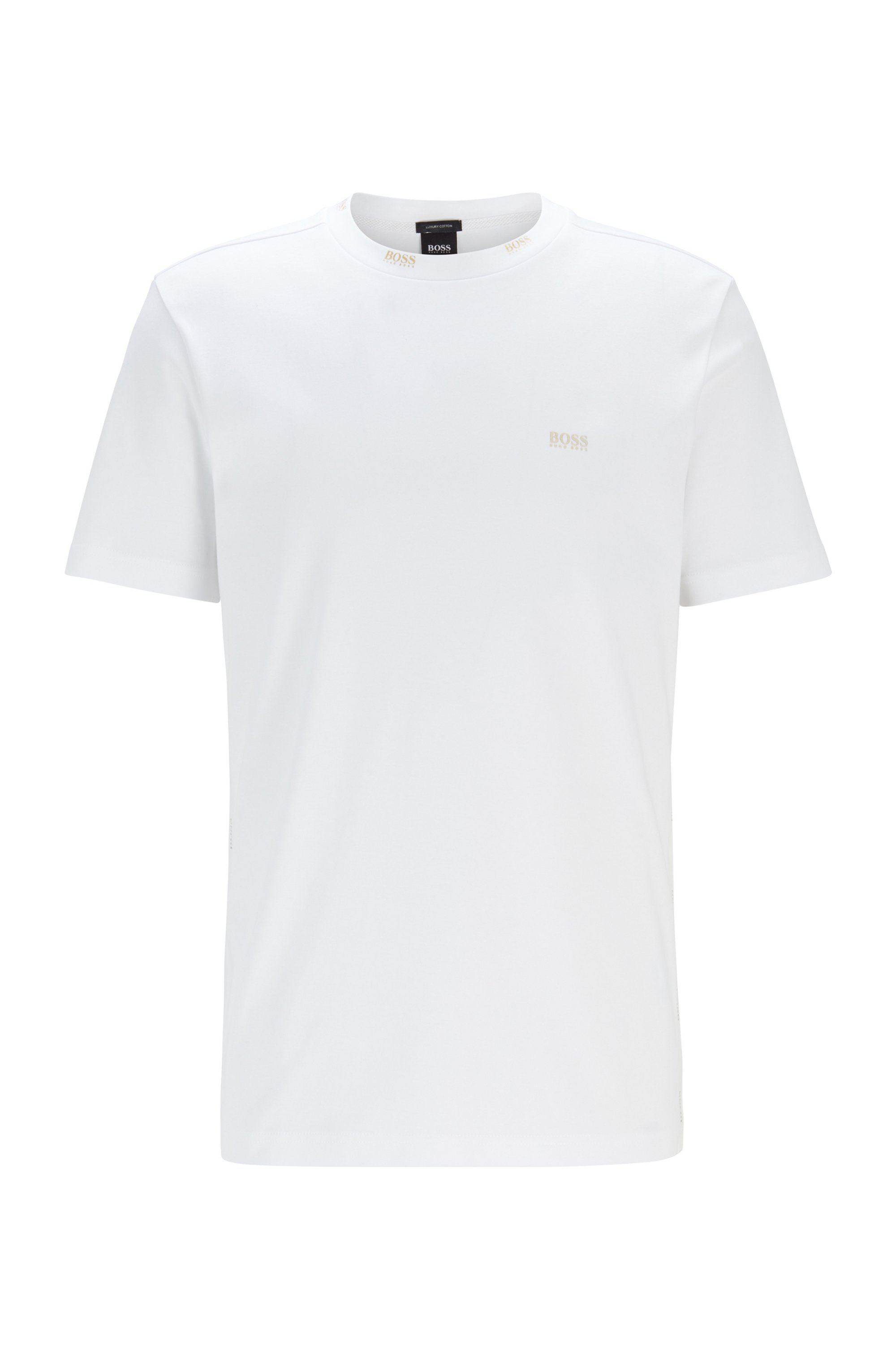 T-shirt Regular Fit orné de logos dorés, Blanc