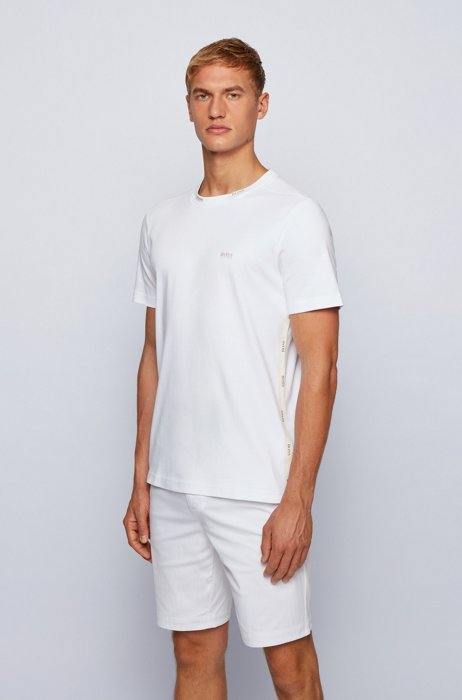 Regular-fit T-shirt with gold-tone logos, White