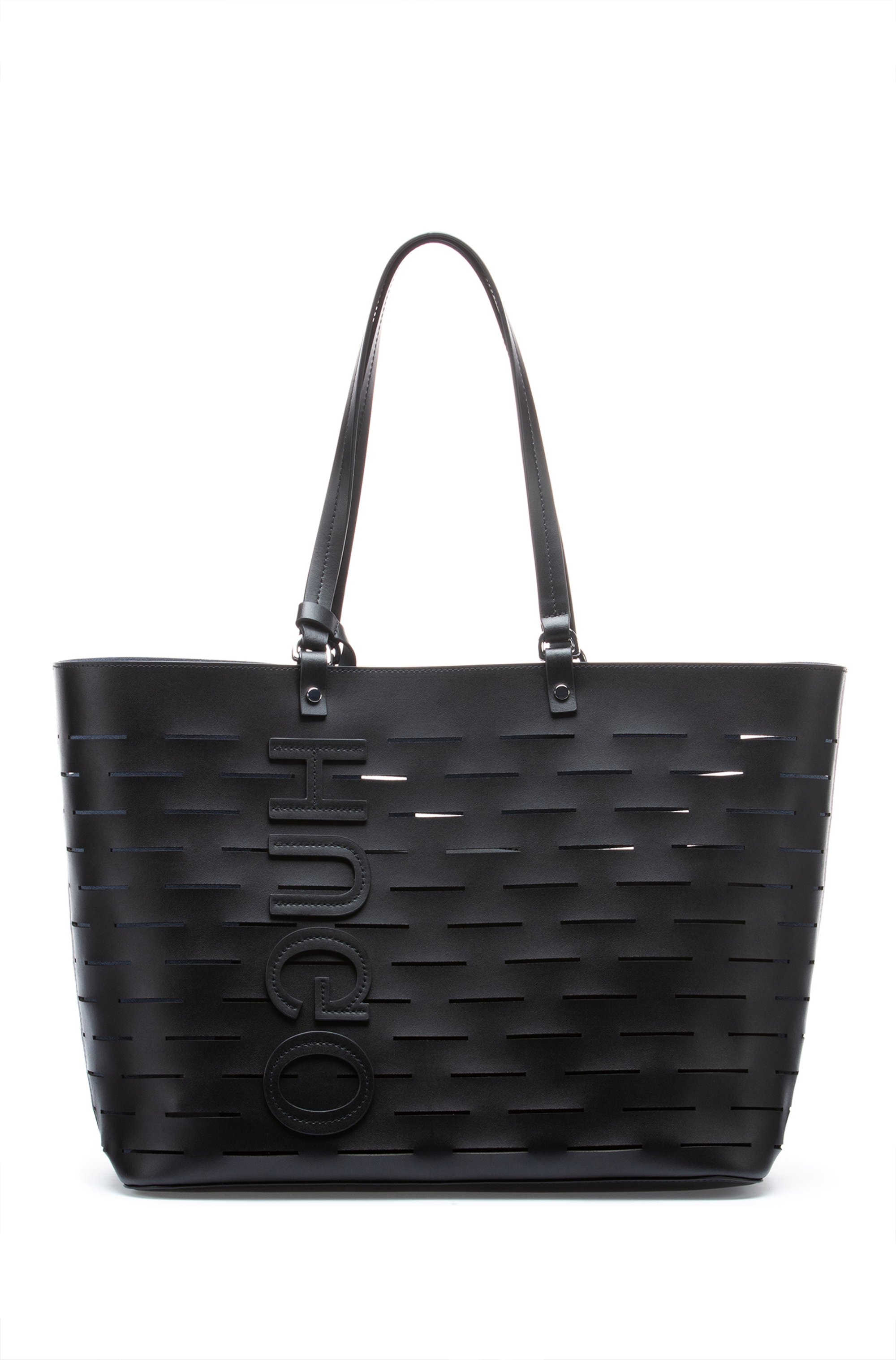 Shopper bag in cut-out leather with reverse logo, Black