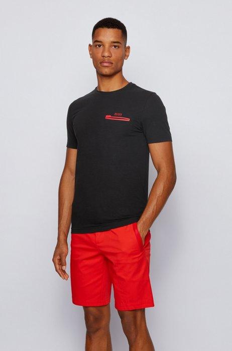 T-shirt en coton stretch à motif artistique mat et brillant, Noir