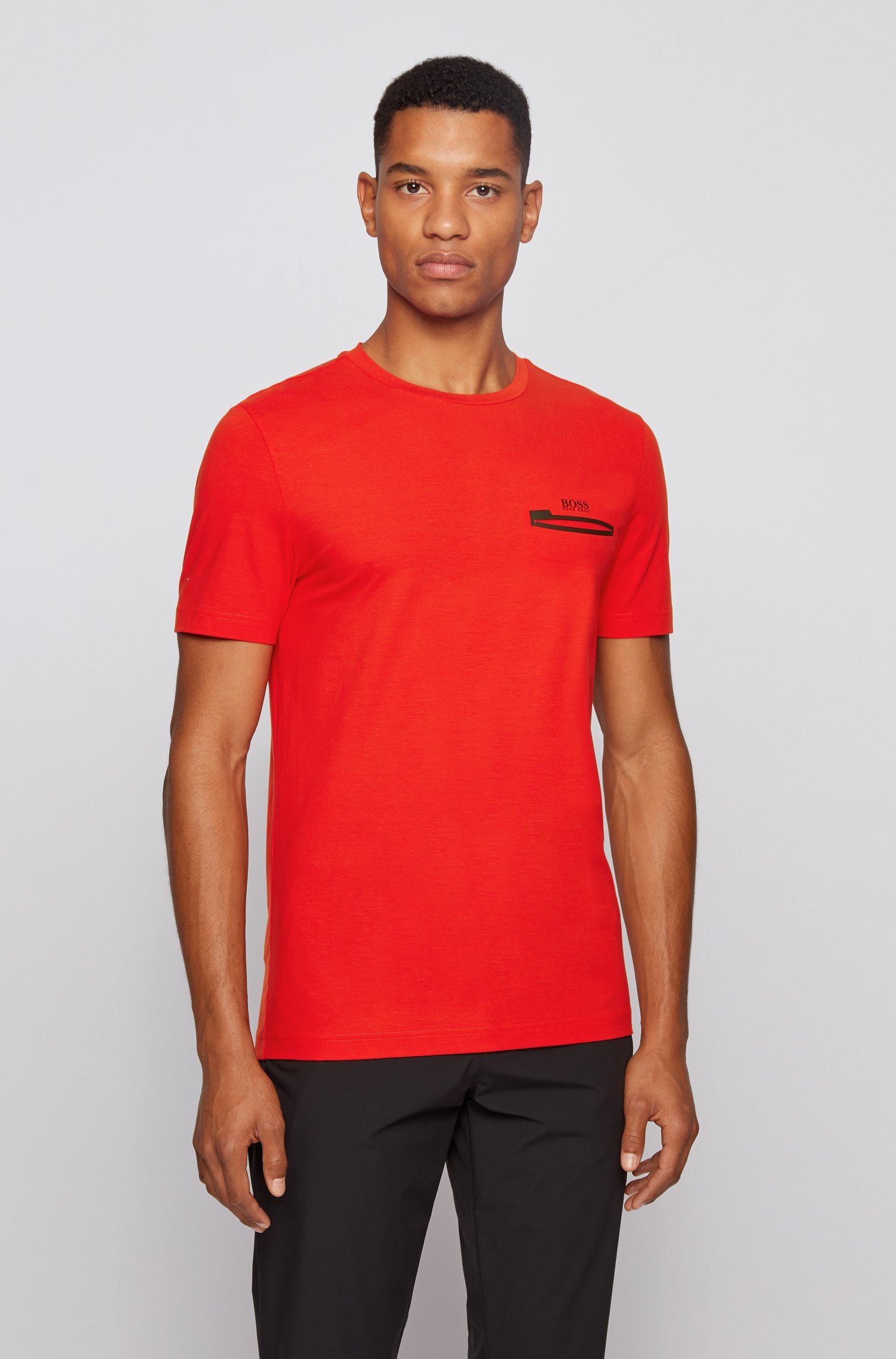 Stretch-cotton T-shirt with matte and gloss artwork, Red