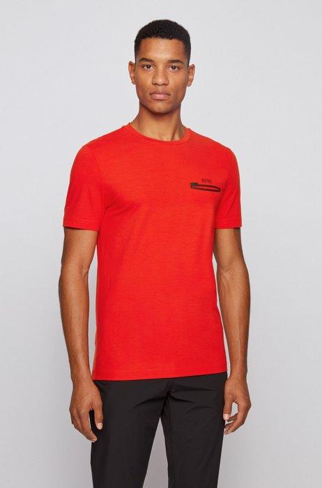 T-shirt en coton stretch à motif artistique mat et brillant, Rouge