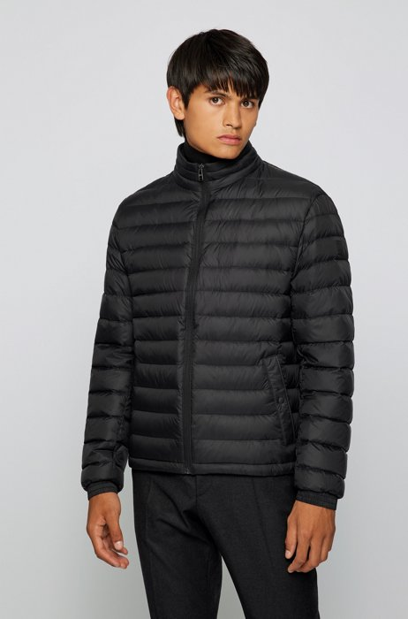 Packable down jacket in water-repellent canvas, Black