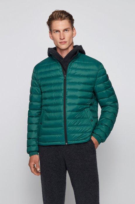 Packable down jacket in water-repellent canvas, Dark Green