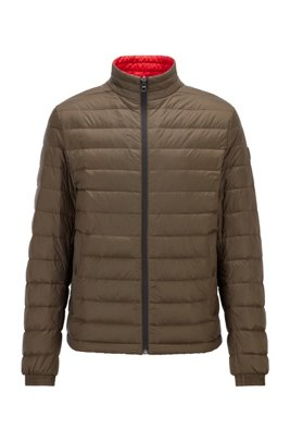 Packable down jacket in water-repellent canvas, Khaki