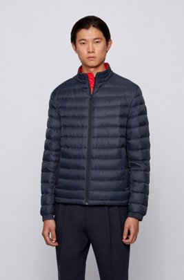Packable down jacket in water-repellent canvas, Dark Blue