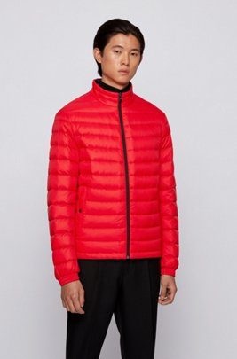 Packable down jacket in water-repellent canvas, Red