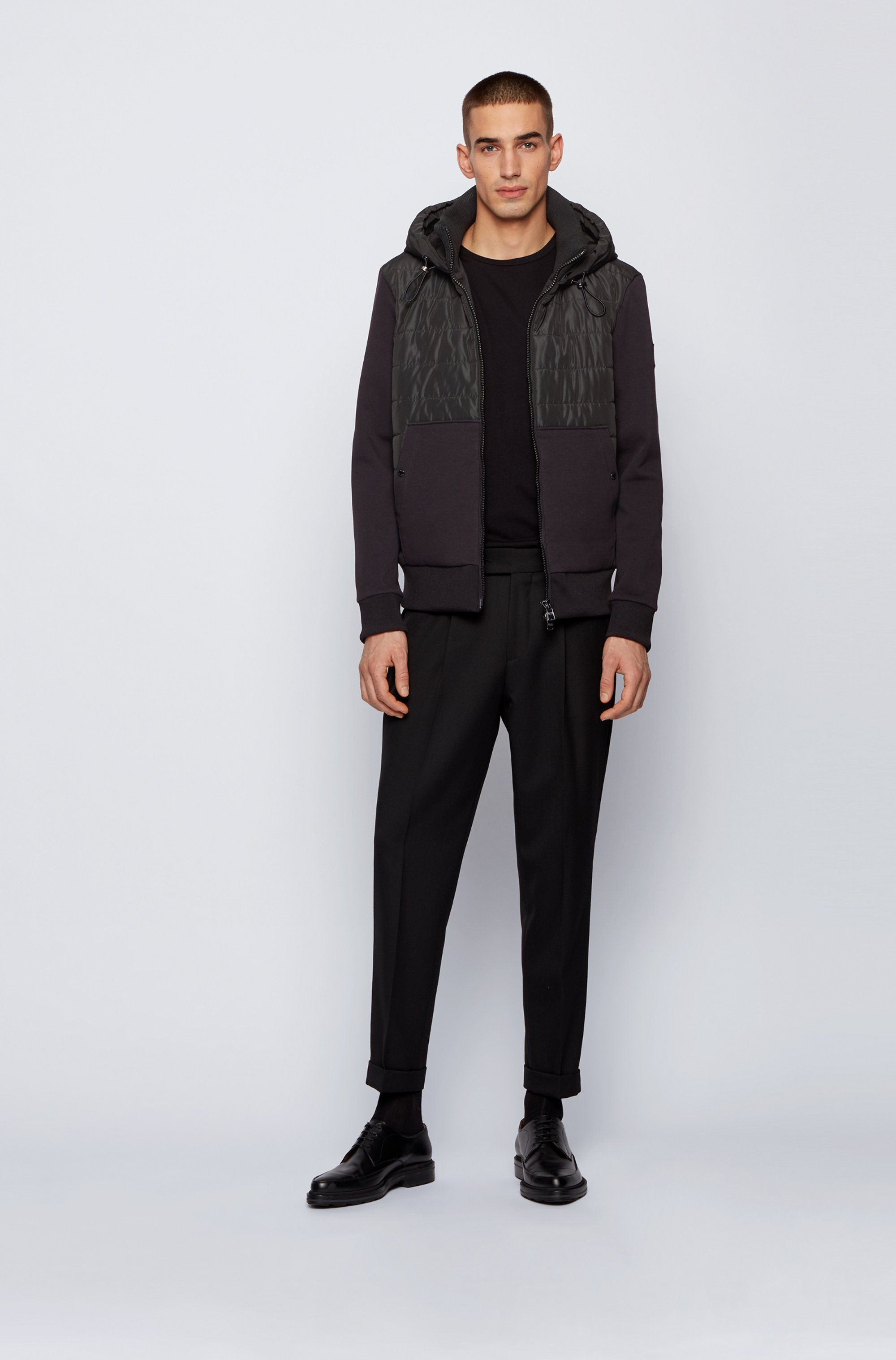 Zip-through hooded sweatshirt with quilted front panel
